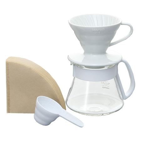 Hario zestaw do kawy: V60 Dripper V60 Dripper & Pot White - drip + serwer + filtry