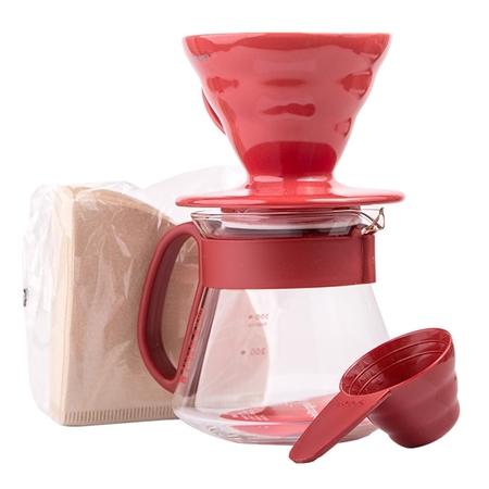 Hario zestaw do kawy: V60 Dripper V60 Dripper & Pot Red - drip + serwer + filtry
